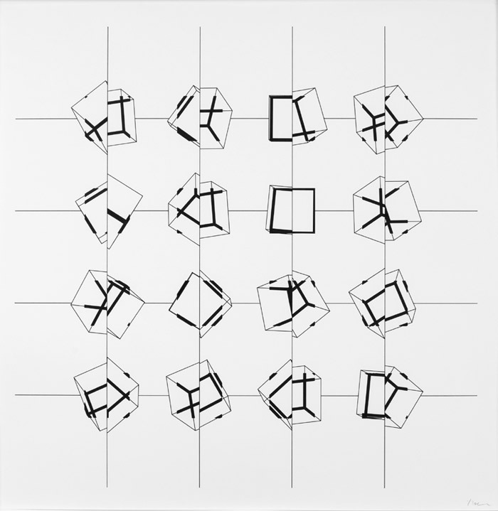 Manfred Mohr, P-197pz, 1977–87, ink on paper, 29 x 29""