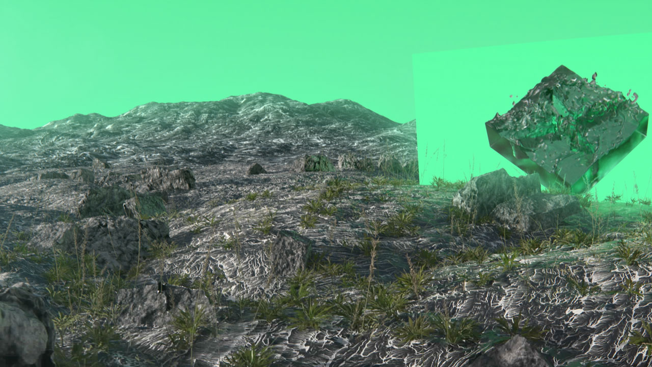 artificial intelligence - green landscape with blender fluid simulation and green sky